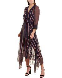 BCBGMAXAZRIA Valet Stripe Asymmetric Wrap Dress - Blue