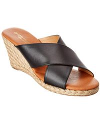 Andre Assous Amber Leather Wedge Sandal - Black