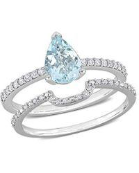 Rina Limor 14k 1.19 Ct. Tw. Diamond & Aquamarine Ring - Metallic