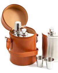 Bey-berk - Camel 6pc Leather Carrying Case & Bar Set - Lyst