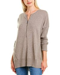 Forte Zip Neck Cashmere Henley Shirt - Brown