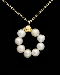 Argento Vivo 18k Over Silver 5mm Pearl Necklace - Black