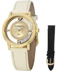 Stuhrling Original Stuhrling Women's Vogue Genuine Leather Interchangeable Strap Watch - Metallic