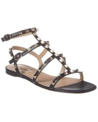 Valentino Rockstud Leather Sandals - Grey