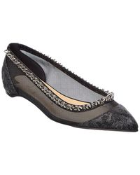Christian Louboutin - Spiked Leather Flat - Lyst