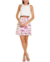 Black Halo Floral Print A-line Skirt - Pink