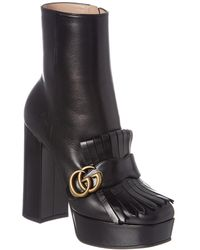 Gucci Fringe Leather Platform Boot - Black