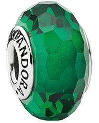 PANDORA - Silver Green Murano Glass Charm - Lyst