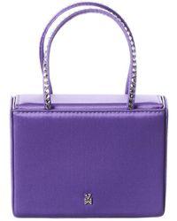 AMINA MUADDI Super Amini Gilda Crystal Embellished Satin Handbag - Purple