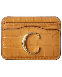 Chloé Croc-embossed Leather Card Holder - Multicolour