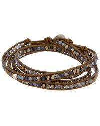 Chan Luu Silver Gemstone & Swarovski Crystal Wrap Bracelet - Metallic