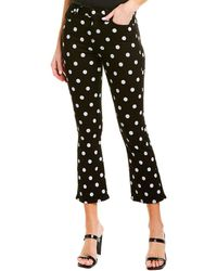 7 For All Mankind High-waist Slim Kick In Black With White Polka Dots