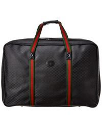 Gucci Black GG Supreme Canvas & Leather Suitcase