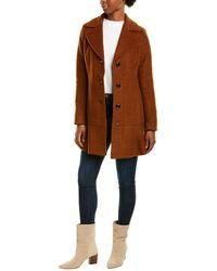 Kensie Signature Peplum Wool-blend Coat - Brown