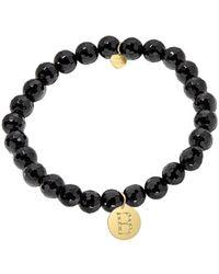 Jane Basch Diamond & Onyx Initial Stretch Bracelet (a-z) - Black