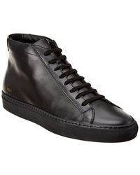 Common Projects Achillles Leather Mid-Top Sneakers - Black