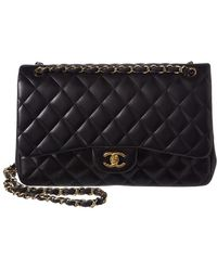 18cc20f48fbb Chanel - Black Quilted Lambskin Leather Classic Jumbo Double Flap Bag - Lyst