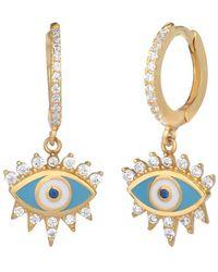 Gabi Rielle Love Is Declared 14k Over Silver Crystal Evil Eye Huggie Earrings - Metallic