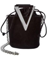 Roger Vivier Rv Mini Suede Bucket Bag - Black