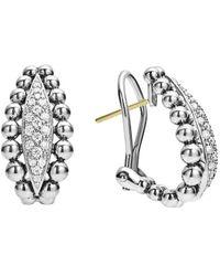 Lagos Caviar Spark Silver 0.42 Ct. Tw. Diamond Earrings - Metallic