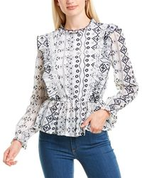Gracia Embroidered Ruffle Blouse - White