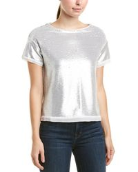 Three Dots Sequin Boxy Silk Crop Top - White