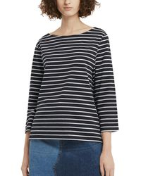French Connection Tim Tim Stripe 3/4-sleeve Knit Top - Blue