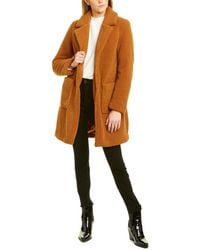 French Connection Fuzzy Coat - Brown