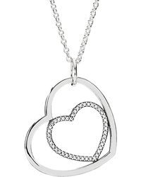 PANDORA - Silver Cz Heart To Heart Necklace - Lyst