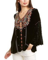 Johnny Was Chiri Silk-blend Blouse - Black
