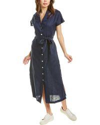 Three Dots Linen Collar Dress - Blue