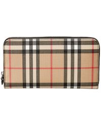 Burberry Ellerby Vintage Check Wallet In Antique Yellow Coated Canvas - Black