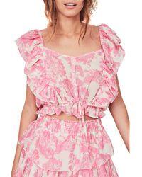 LoveShackFancy Avery Silk Top - Pink
