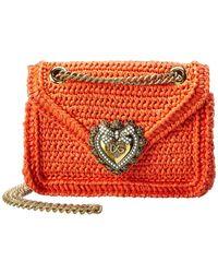 Dolce & Gabbana Devotion Raffia Crossbody - Orange
