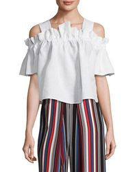 WHIT - Mariposa-linen Gathered Top - Lyst