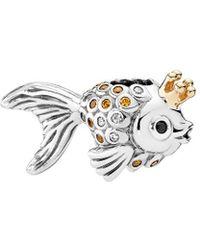PANDORA 14k Silver Cz & Crystal Fairytale Fish Charm - Black