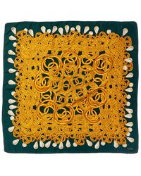 Chanel Dark Green & Gold Silk Scarf - Metallic