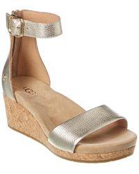 UGG Zoe Ii Metallic Leather Wedge Sandal