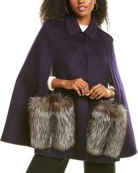 Adrienne Landau Wool Cape - Blue