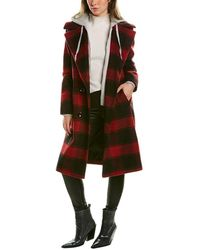 Kendall + Kylie Double-breasted Plaid Coat - Red