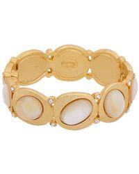 Kenneth Jay Lane 22k Plated Mother-of-pearl Glass Crystal Bangle Bracelet - Metallic