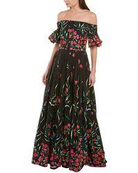 Carolina Herrera Off The Shoulder Floral Print Faille Gown - Black