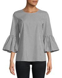 Calvin Klein Even Stripe W/ Bell Sleeve Blouse (black Stripe) Blouse - Grey