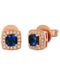 Le Vian ? 14k Strawberry Gold? 0.72 Ct. Tw. Diamond & Blue Topaz Earrings