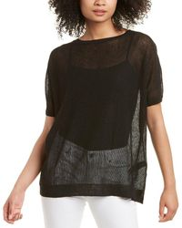 Eileen Fisher Bateau Neck Linen-blend Tunic - Black