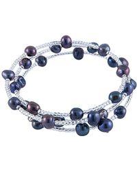 Splendid Rhodium Plated 7-8mm Freshwater Pearl Coil Bracelet - Blue