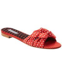 Tabitha Simmons Cleo Bow-embellished Twill Slide - Red