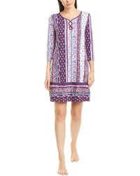 Ellen Tracy Mixed Floral-print Nightgown - Purple