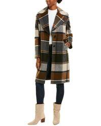 Kensie Plaid Wool-blend Topper - Brown
