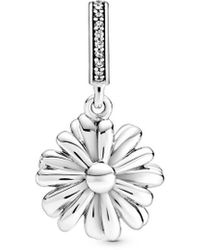 PANDORA Sparkling Cz Silver Daisy Flower Dangle Charm - Metallic